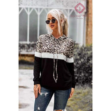 Load image into Gallery viewer, Pre- Order Leopard + Color Block Hoodie - S / Black - Top