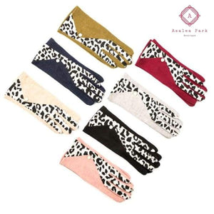 Leopard & Pearl Cashmere Touch Screen Gloves - Black - Hats & Hair Accessories