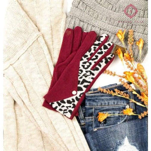 Leopard & Pearl Cashmere Touch Screen Gloves - Wine - Hats & Hair Accessories
