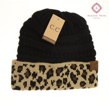Load image into Gallery viewer, Leopard Print CC Beanie - Black - Hats & Hair Accessories