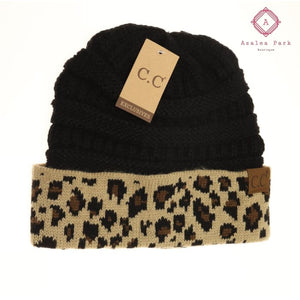 Leopard Print CC Beanie - Black - Hats & Hair Accessories