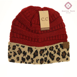 Leopard Print CC Beanie - Red - Hats & Hair Accessories