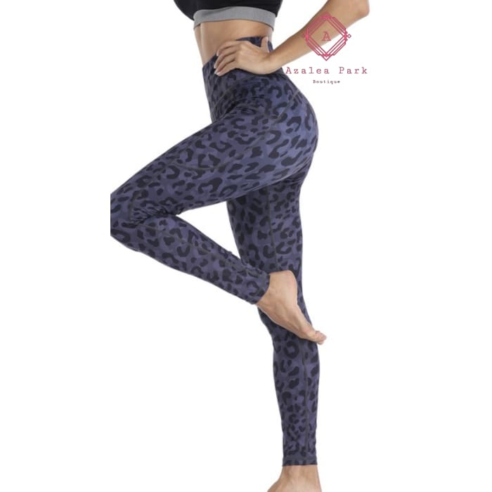 Leopard Print Leggings - S / Purple - Bottoms