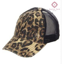 Load image into Gallery viewer, Leopard Print with Black Ladder High Pony Tail - Hats & Hair Accessories