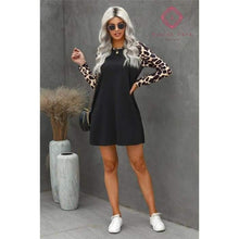 Load image into Gallery viewer, Leopard Sleeve Mini Dress - Dress