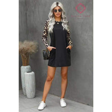 Load image into Gallery viewer, Leopard Sleeve Mini Dress - S - Dress