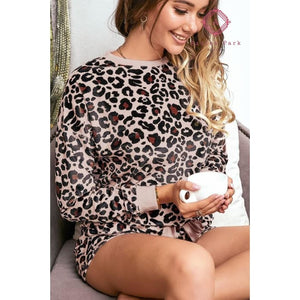 Long Sleeve Leopard PJ Set - Top