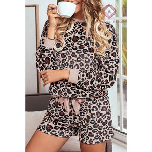 Long Sleeve Leopard PJ Set - S / Pink - Top