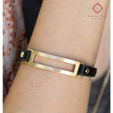 Load image into Gallery viewer, Metal & Leather Band Bracelet - Jewelry