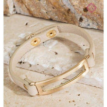 Load image into Gallery viewer, Metal & Leather Band Bracelet - Natural - Jewelry
