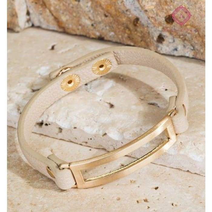 Metal & Leather Band Bracelet - Natural - Jewelry