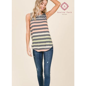 MultiColor Striped Tank - Top
