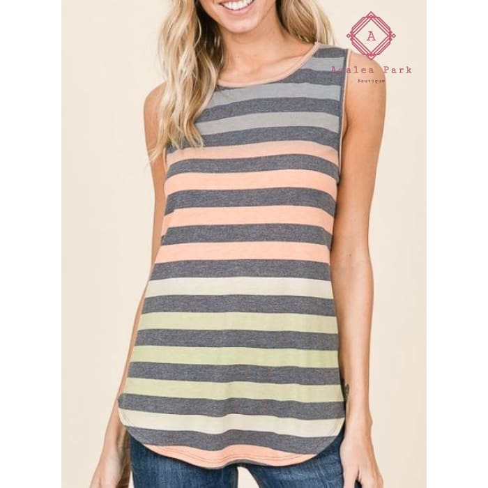 MultiColor Striped Tank - S - Top