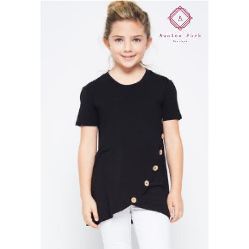 Nora's Solid Buttoned Top - XS - Girls Tops