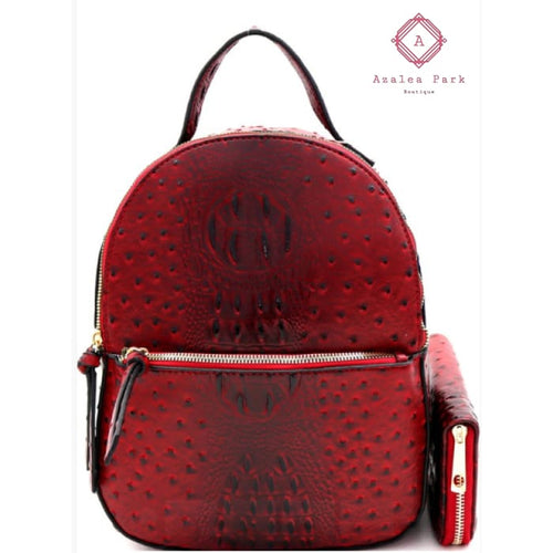 Olivia Ostrich Embossed Backpack w/ Wallet - Burgundy - Bags & Purses