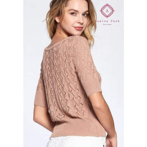 Penelope Cropped Knitted Cardigan - Top