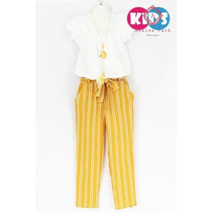 Pleated Top & Stripe Pants Set - Girls Sets
