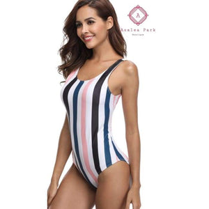 Retro Stripe Monokini - Womens Swimsuit