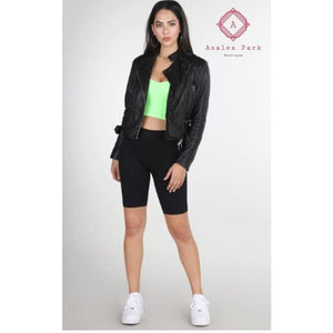 Ribbed Biker Shorts - OneSize / Black - Bottoms