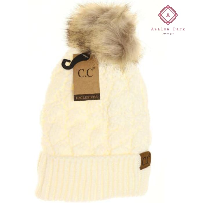 Ribbed Cable Knit Fur Pom Beanie - Ivory - Hats & Hair Accessories