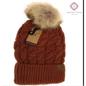 Ribbed Cable Knit Fur Pom Beanie - Rust - Hats & Hair Accessories