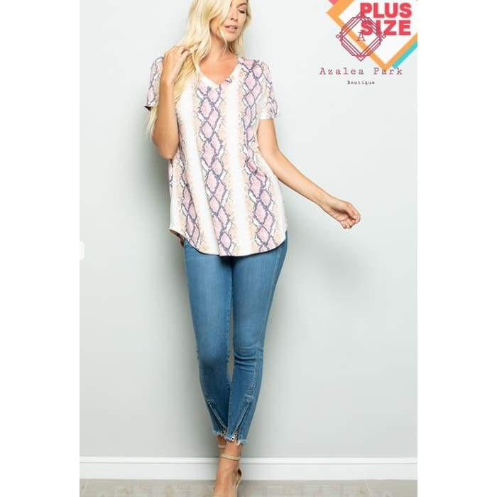 Sams Snake Print Top - 1X - Plus Tops