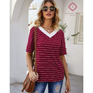 Serenitys Striped V-neck Top - Top