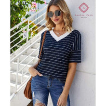 Load image into Gallery viewer, Serenitys Striped V-neck Top - Top