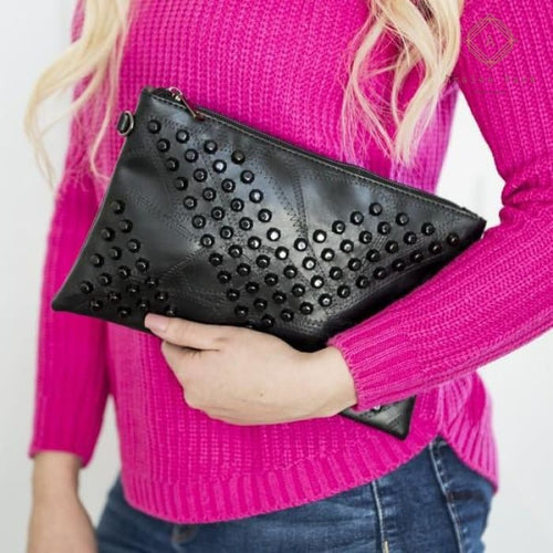 Skya Studded Clutch - Bags & Purses