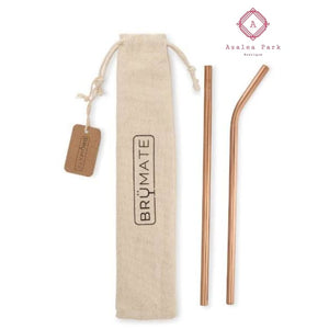 Stainless Steel Reusable Pint Straw - Rose Gold - Stainless Steel Reusable Pint Straw