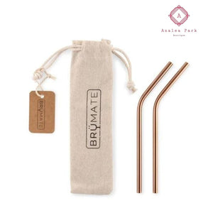 Stainless Steel Reusable Wine Straw - Rose Gold - Stainless Steel Reusable Wine Straw