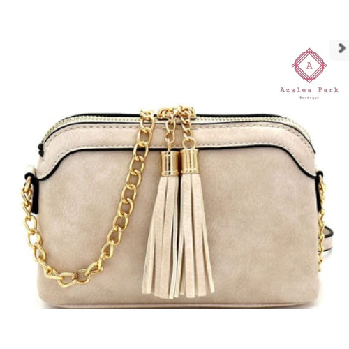 Tassel & Chain Crossbody - Off White - Bags & Purses