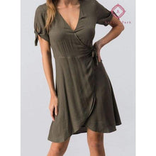 Load image into Gallery viewer, Taupe Wrap Flare Dress - Dress