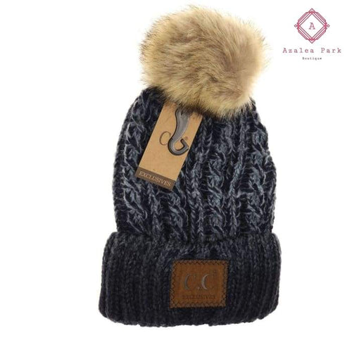 Two-Tone Ombre Vintage Faux Fur Pom Beanie - Hats & Hair Accessories