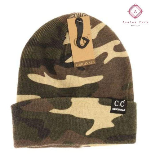 Unisex Camo Short Beanie - Olive - Hats & Hair Accessories