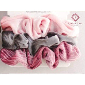 Velvet Frosted Trio Scrunchy Set - Hats & Hair Accessories