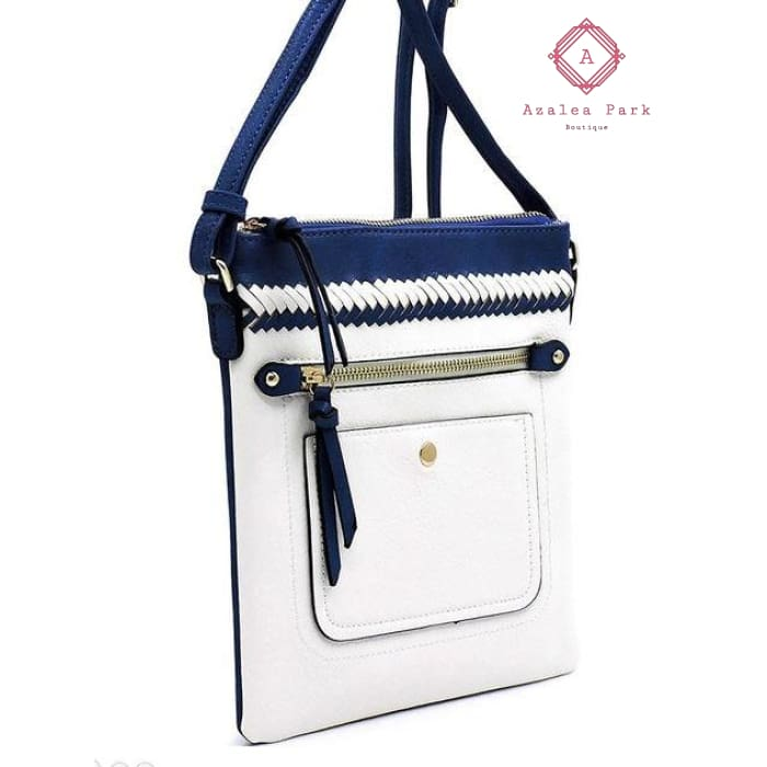 Whipstitch Colorblock Crossbody Bag - Royal Blue/Navy - Bags & Purses