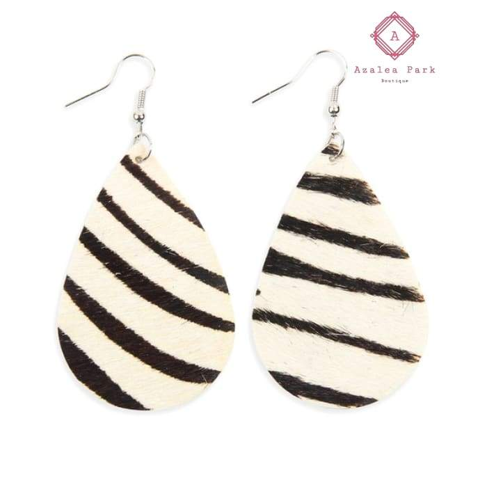 Zebra Teardrop Earrings - Jewelry