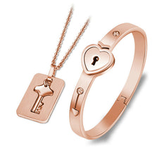 Load image into Gallery viewer, Heart Lock Bracelet & Key Necklace [BUY 2 GET 1 FREE]