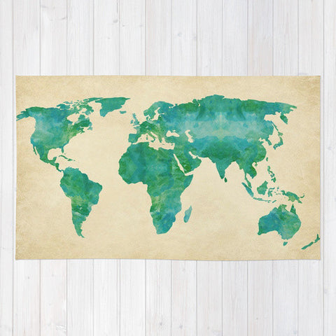 Watercolor World Map Area Rug