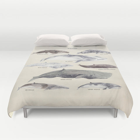 Whales Chart Microfiber Duvet Cover