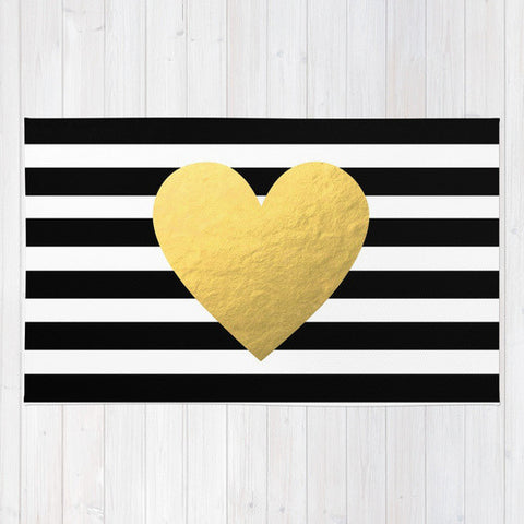 Gold Striped Heart Area Rug