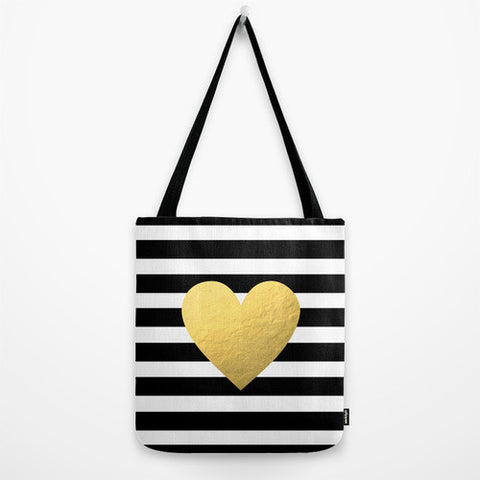 Gold Heart Striped Tote Bag