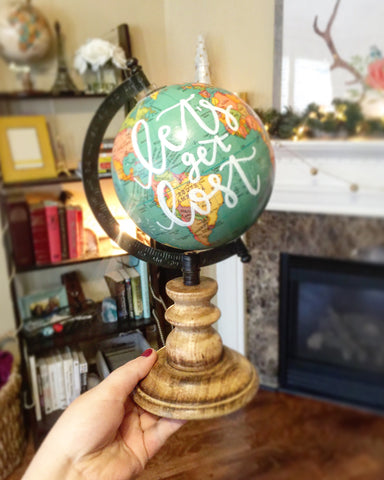 "10"" Aqua Hand Lettered Globe // Let's Get Lost"