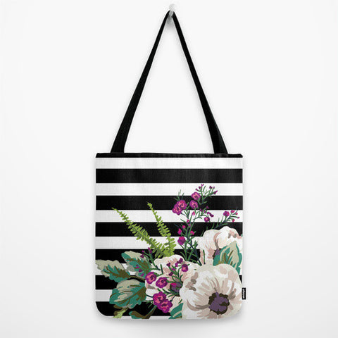 Striped Floral Tote Bag