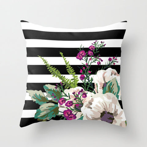 Striped Floral Throw Pillow