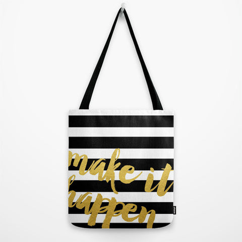 Make it Happen Striped Gold Tote Bag