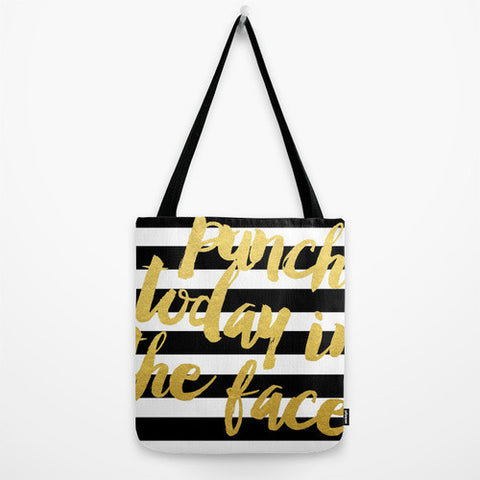 Gold Striped Tote Bag // Punch Today in the Face