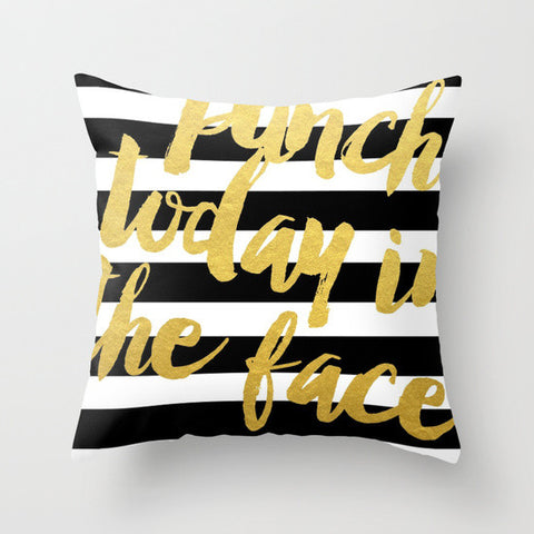 Punch Today in the Face // Striped Gold Throw Pillow