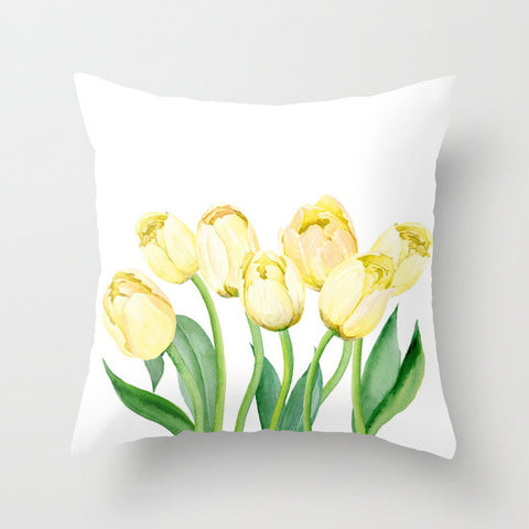 Yellow Tulips Throw Pillow